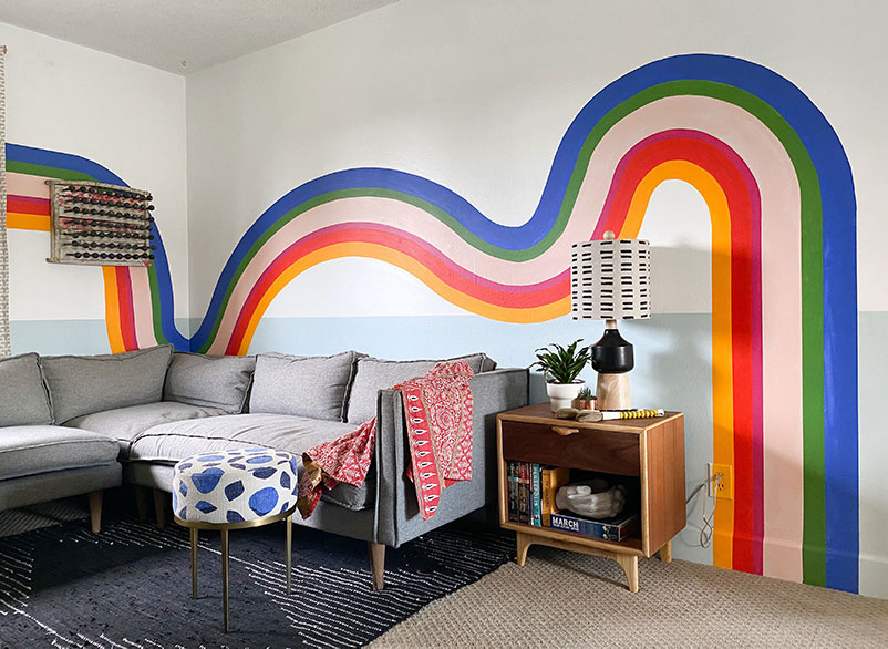 Colorful-Striped-Media-Room-Mural-with-eclectic-decor-with-city-home-by-banyan-bridges